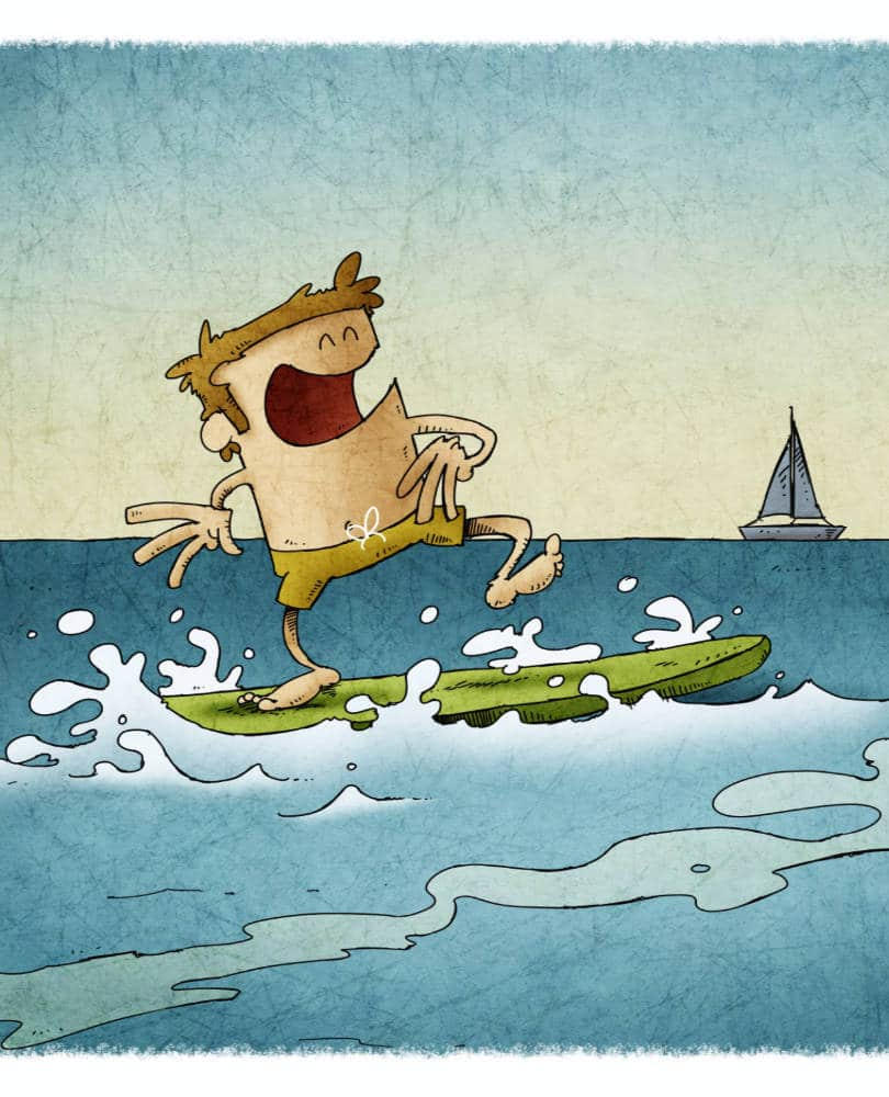 cartoon illustration of a man surfing on top of a surfboard