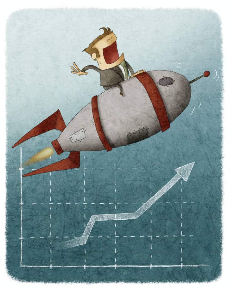 cartoon man riding on top of a rocket