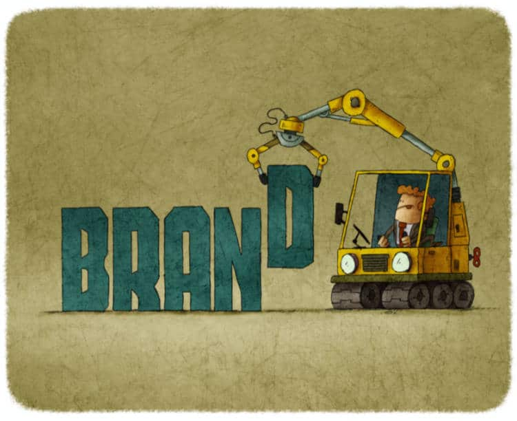 cartoon man using a backhow to build the word brand