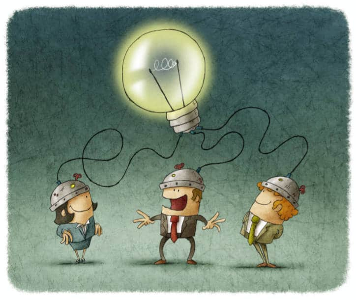 3 cartoon people coming up with an idea with a lightbulb hanging over top of them