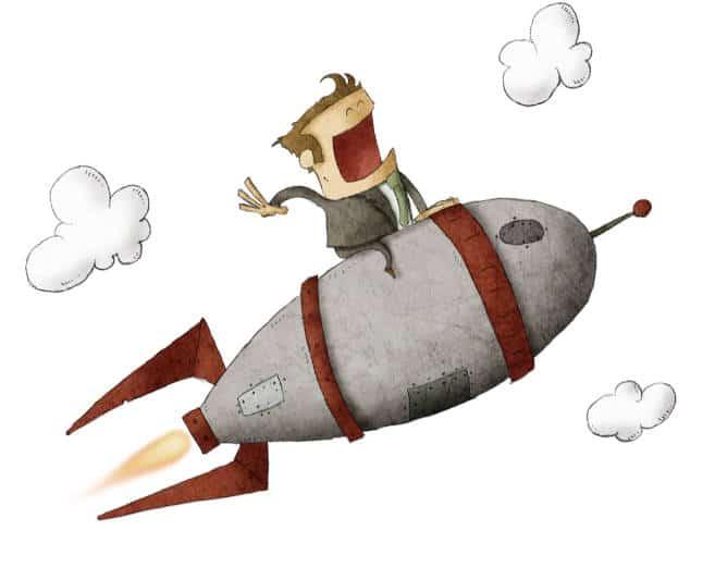 cartoon man riding on a rocket