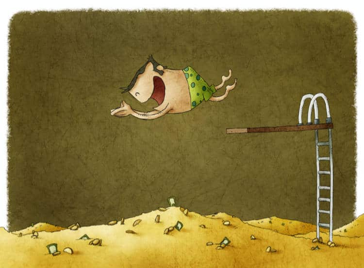 cartoon man diving off of a diving board into a pile of money